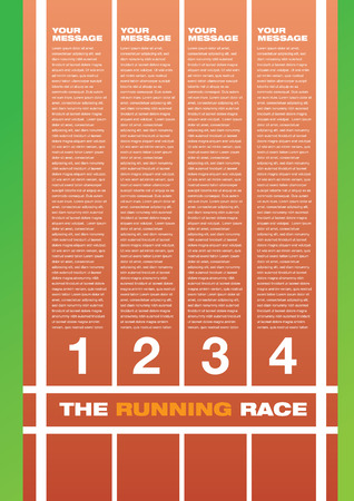 illustration of a running race track with own area for headline and copy.