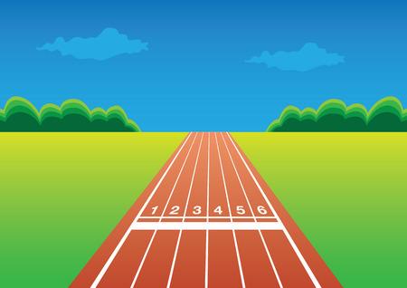 Illustratie van een loopwedstrijd track met een eigen ruimte voor kop en kopiëren. Stockfoto - 28112153