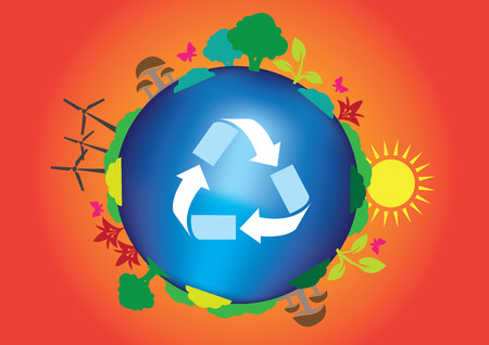 solarpower: Conceptual illustration for go green, recycle, reuse and sustainable energy. Recycle symbol on clean earth with trees, solar energy and wind power.