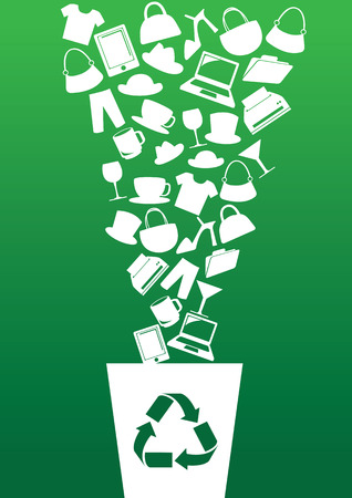 consumerism: Vector illustration of different consumer products going into recycle bin. Concept for green consumerism contradiction.