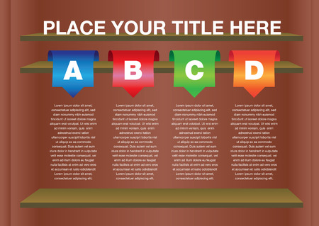 Layout Design with shelves and own area for text.  Vector
