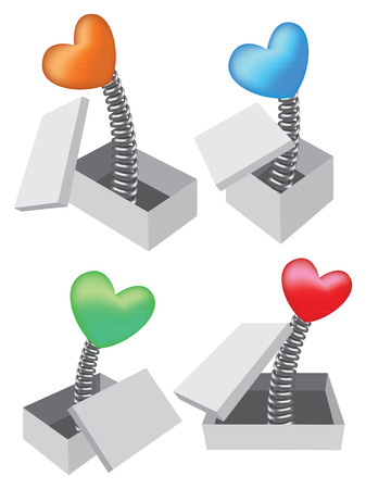 coil spring:  illustration of heart-shape toy popping out of box in four different colors.