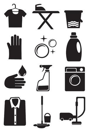 v�tements pli�s: illustration de jeu d'ic�nes pour les services de blanchisserie et de nettoyage