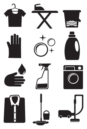 illustration of icon set for laundry and cleaning services Çizim