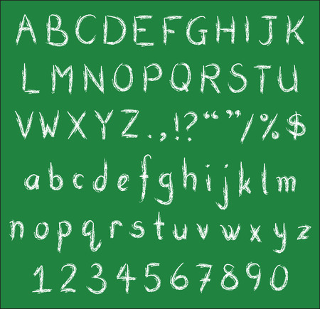 White chalk handwritten alphabets, numbers and common punctuation on green black board. Vector