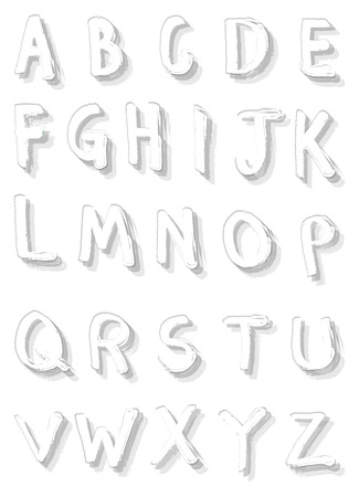 Brush calligraphic fonts in white with grey shadow.  Illustration