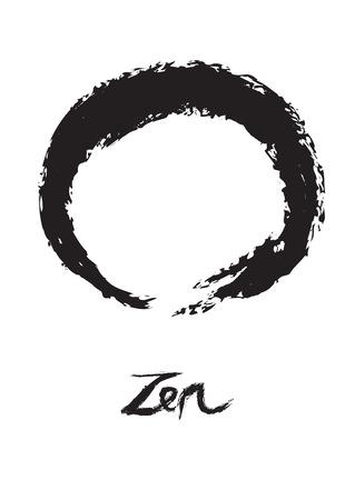 illustration of symbolic circle for Zen, Enso. 向量圖像