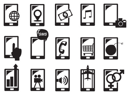 Vector illustration of handphone and different functions in black and white. Stock Vector - 29344952