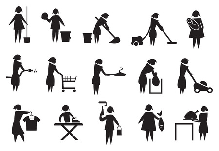chores: Vector illustration of housewife doing household chores black and white icons Illustration
