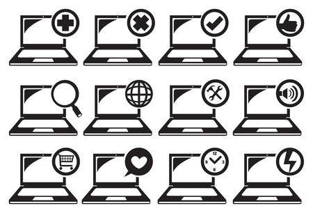 purchasing power: Vector illustration of computer laptop icons with different functions Illustration