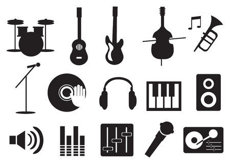 Vector illustration of music related icon set Stock Illustratie