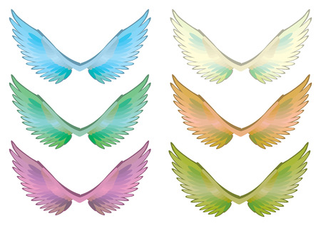 Vector illustration of fantasy wings in different colors. Stock Illustratie
