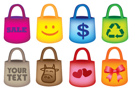 retail therapy: Vector illustration of different grocery shopping tote bags. Isolated on white background.