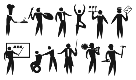 different jobs: Vector illustration of icon man in different jobs and professionals. Isolated black and white icon set.