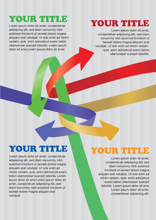 page layout: Vector illustration of interlocking colorful arrows. Template for page layout.
