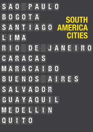Name of South American Cities on airport flip board style. Vector font design.