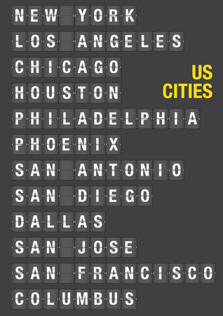 Name of American Cities on airport flip board style. Vector font design.