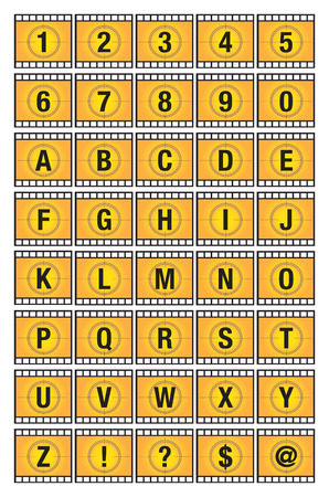 negatives: Vector illustration of alphabets and numbers on yellow film strip.
