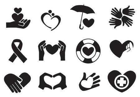 unconditional: Designs for love and community care icons. Vector illustration. Illustration