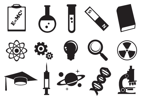 Vector illustration of tools and symbols for science education. Black and white icon set. Vector