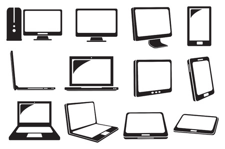Vector illustration of different models of computers and laptops Vector