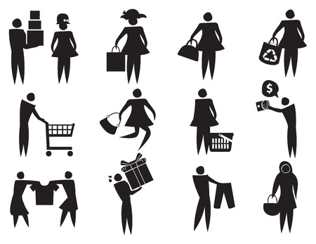 retail therapy: Vector illustration of black and white icons related to shopping and retail therapy.