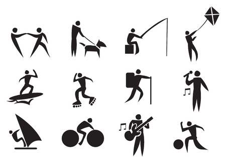 Vector illustration of people doing different outdoor leisure activities. Black and white icon set. Vector