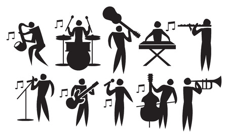 Vector illustration of icon man playing different musical instruments. Stock Illustratie