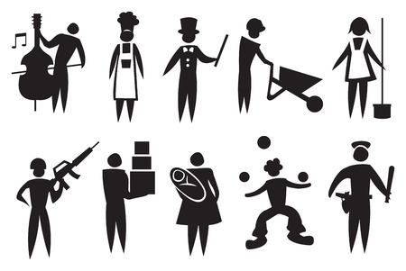 Vector illustration depicting different professions Black and white icon man set