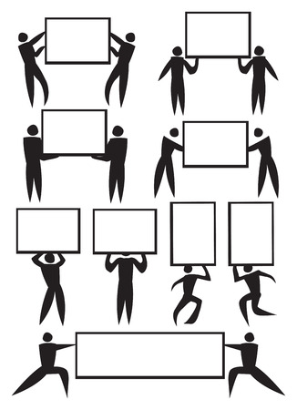 Vector illustration of icon men holding placard with copy space  Vector