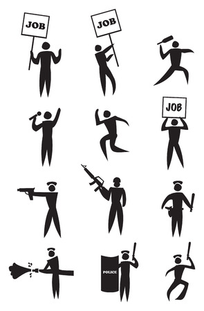 clash: Vector illustration of icon man with job placard and law enforcer  Concept for employment protest  Illustration