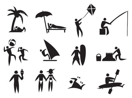 ice fishing: Ilustraci�n vectorial de los hombres icono que realizan actividades de verano