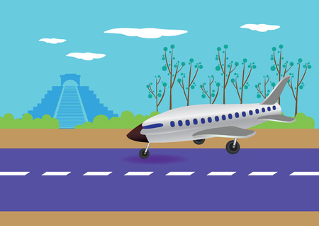 Vector illustration of an airplane touching down on a runway with Chichen Itza in the background Vector
