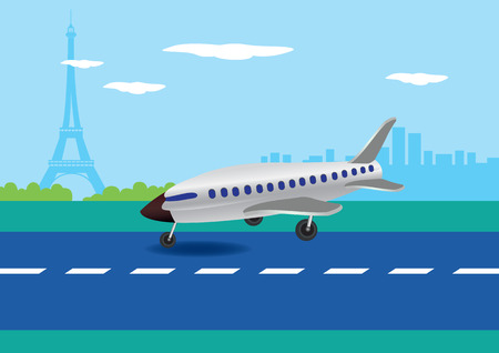 Vector illustration of an airplane touching down on a runway with Eiffel Tower in the background