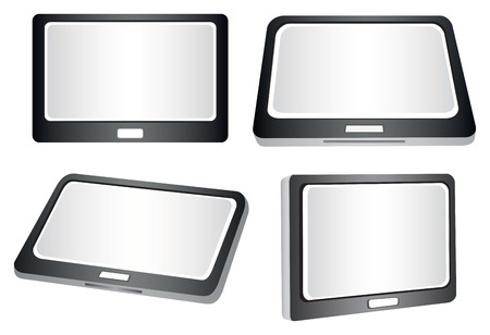 palmtop: illustration of a tablet in different views and perspectives