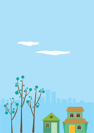 detached: Ilustraci�n de dos viviendas unifamiliares con paisaje urbano en el fondo