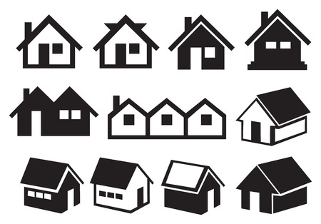 illustration of different pitched roof houses in black and white. Illustration