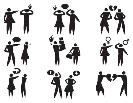 icons depicting man and woman in disagreement and abusive relationships
