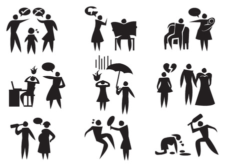 �nerv�e: illustration de diff�rentes situations de violence conjugale en noir sur fond blanc.
