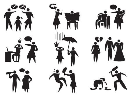 violencia familiar: ilustraci�n de las diferentes situaciones de violencia dom�stica en negro sobre fondo blanco.
