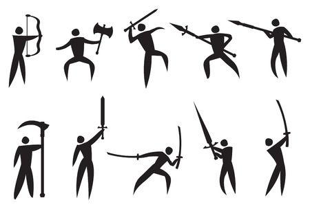 illustration of icon man performing martial arts with martial arts weapons Vector