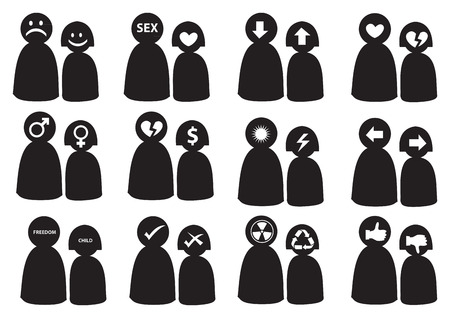 contradict:  illustration for differences in mans and womans thinking. Conceptual icon set.