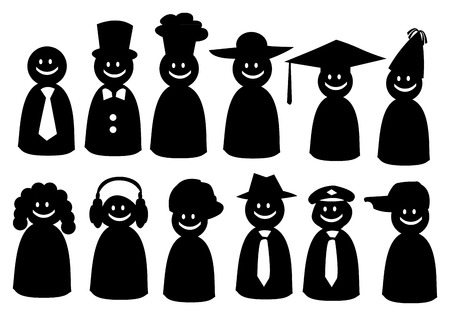 illustration of people icon in different fancy hats. Stock Vector - 30569706
