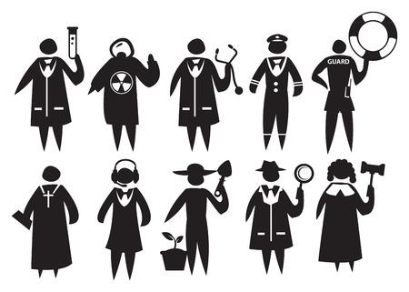 clergy: iconos de diferentes profesionales en su uniforme y vestimenta, y la celebraci�n de respectivas herramientas simb�licas Vectores
