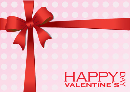 short phrase: illustration of a Valentines Day gift wrapped in pink polka dot wrapping paper and red bow and ribbon.