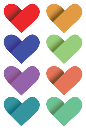 illustration of paper hearts in different colors. Vector