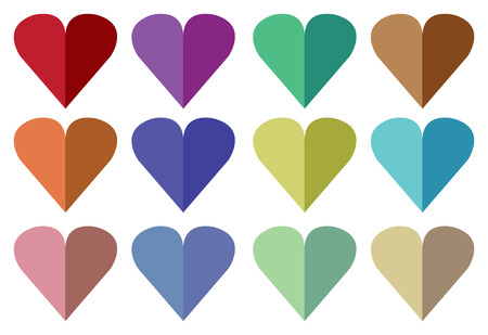 Vector illustration of hearts made from paper folding