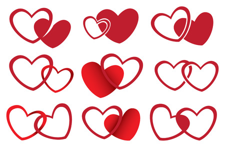 two hearts together: Vector illustration of symbolic heart shape design for love theme