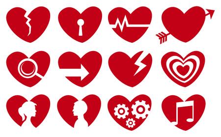 Vector illustration of different societal symbols in symbolic red heart shape. Vector