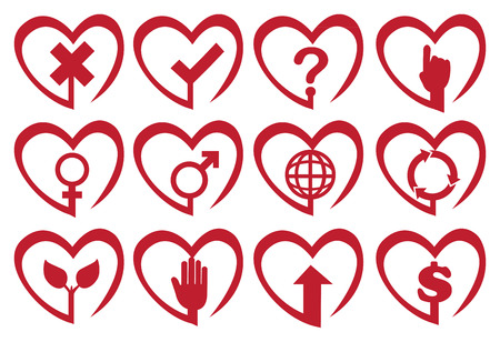 Vector illustration of symbols and icons in heart shape frame. Vector